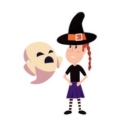 girl in halloween costume with ghost vector image