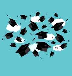 graduation caps fly in air in a moment of vector image