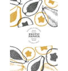 Hand drawn sketch style papaya banner organic vector