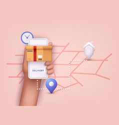 hand holding mobile smart phone with app delivery vector image