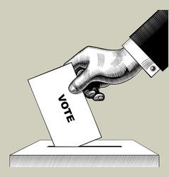 Hand putting voting paper in ballot box vector