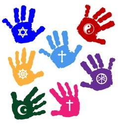 Hands of believers vector image