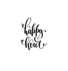 happy hour hand written lettering inscription vector image