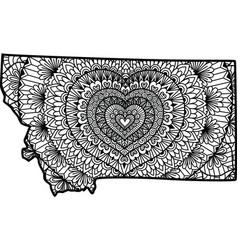 Heart inside montana state map vector
