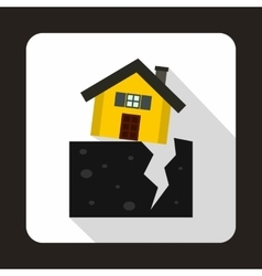 House after an earthquake icon flat style vector image