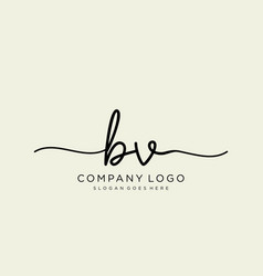 initial bv handwriting logo with circle template vector image