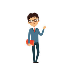 Intelligent teacher or student holding book and vector