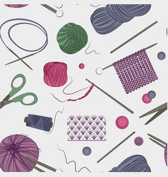 knitting and crochet set pattern vector image