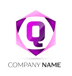Letter q symbol in the colorful hexagonal vector
