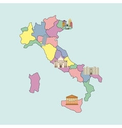 Map and landmarks icon Italy culture design vector