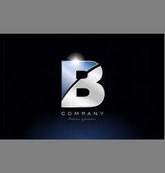 Metal blue alphabet letter b logo company icon vector