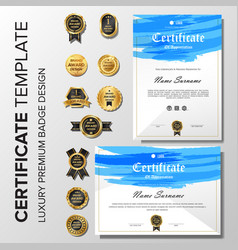 modern certificate brush with badge template vector image