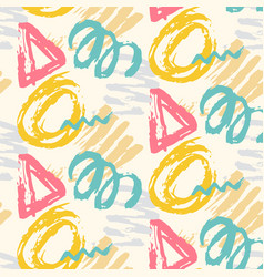 Modern seamless pattern with brush painted shapes vector