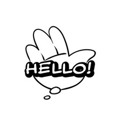 Monochrome hello speech bubble black and white vector