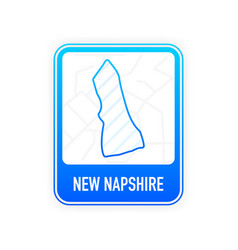 New napshire - us state contour line in white vector