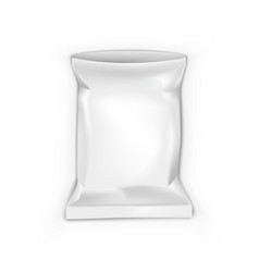 Open blank foil pouch snack packaging on white vector