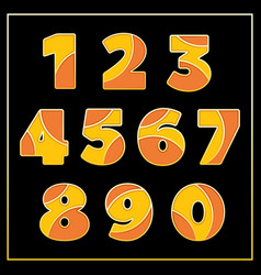 Orange enamel jewerly stylized numbers design vector