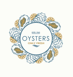 oyster shell label vector image