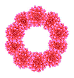 pink dahlia wreath style 2 vector image