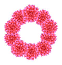 Pink dahlia wreath style 2 vector