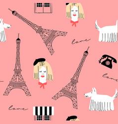 pink woman paris retro doodle seamless pattern vector image