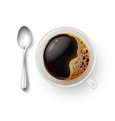 Realistic cup coffee spoon top view closeup vector
