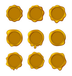 realistic detailed 3d yellow old seal wax stamps vector image