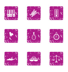 Restaurant accounting icons set grunge style vector