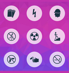 Safety icons set with radioactive corrosive vector