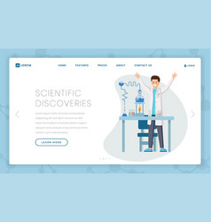 scientific discoveries flat landing page template vector image