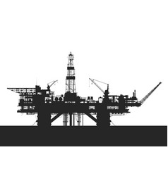 Sea oil rig oil drilling platform vector