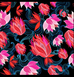 seamless bright graphic pattern red flowers vector image