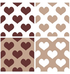 Seamless brown background set with hearts vector image