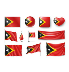 set east timor flags banners banners symbols vector image