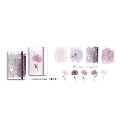 set nature watercolor art with beautiful vector image