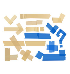 set of different fragments at adhesive vector image