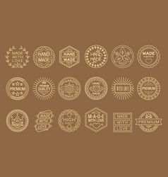 Set of linear labels for handmade goods vector