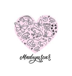 set of madagascar animals in a heart composition vector image