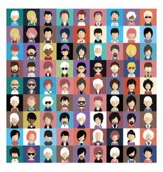 Set of people icons in flat style with faces 07 b vector