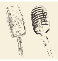 Set of studio Microphones Vintage Engraved Retro vector