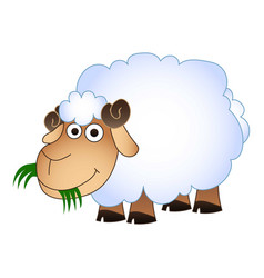 Sheep eat green grass icon cartoon style vector