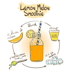 Sketch Lemon Melon smoothie recipe vector
