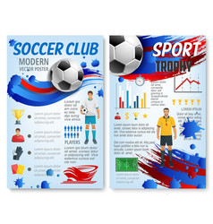Soccer sport infographic for football team design vector