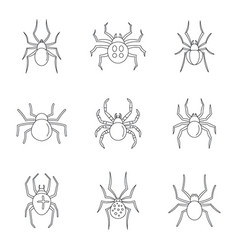 spider bug caterpillar icons set outline style vector image