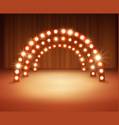 stage with circle light bulbs vector image