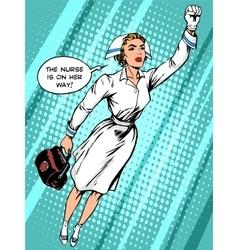 Super hero nurse flies to rescue vector
