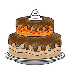 Sweet and delicious cake vector