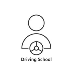 thin line driving school logo vector image