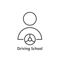 thin line driving school logo vector image