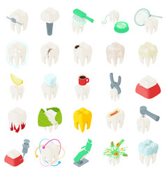 tooth teeth dentist icons set isometric style vector image